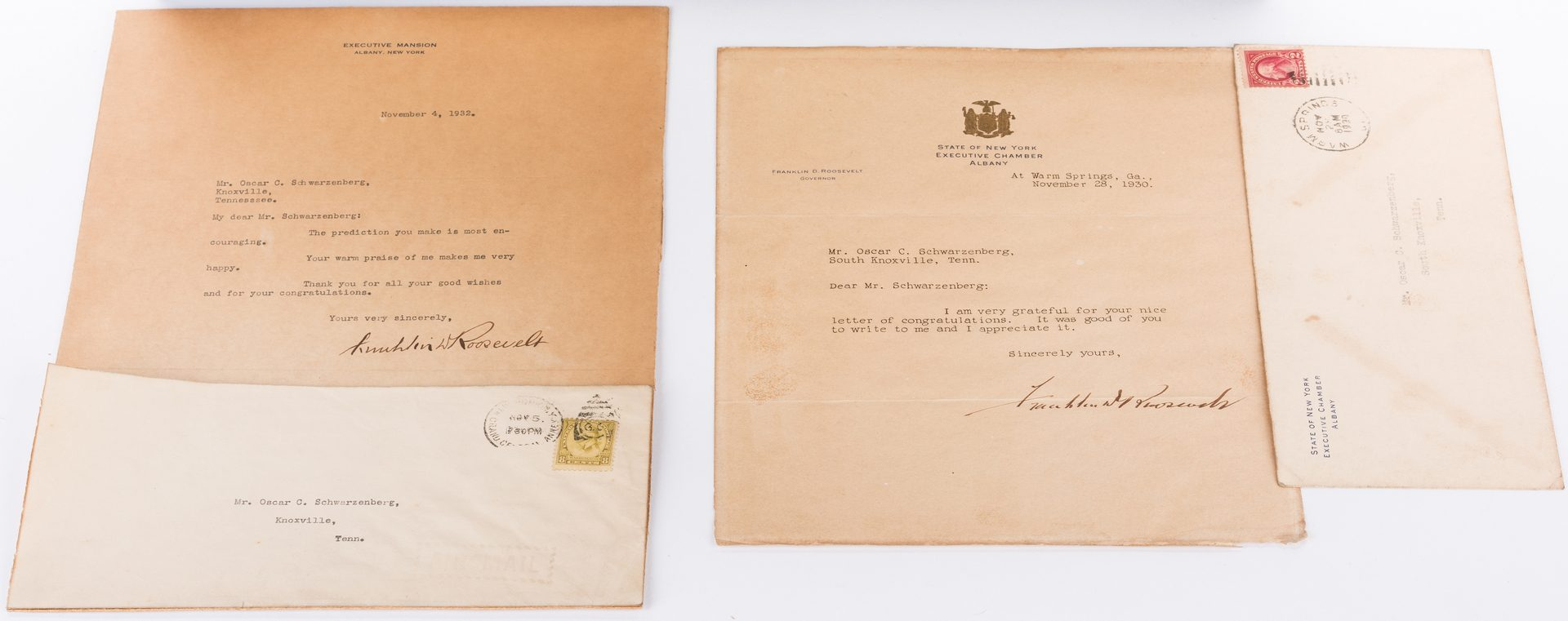 Lot 253: 3 FDR Items, inc. 2 Signed Letters
