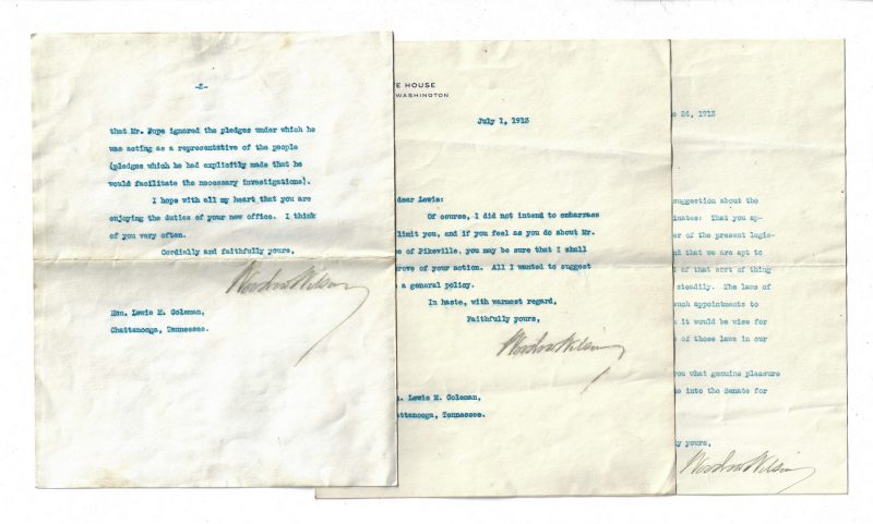 Lot 255: 3 Woodrow Wilson Signed Letters