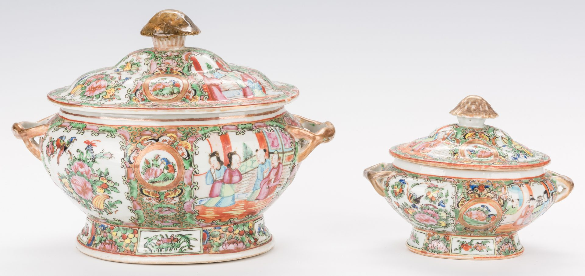 Lot 25: Rose Medallion Soup and Sauce Tureens with Underplates