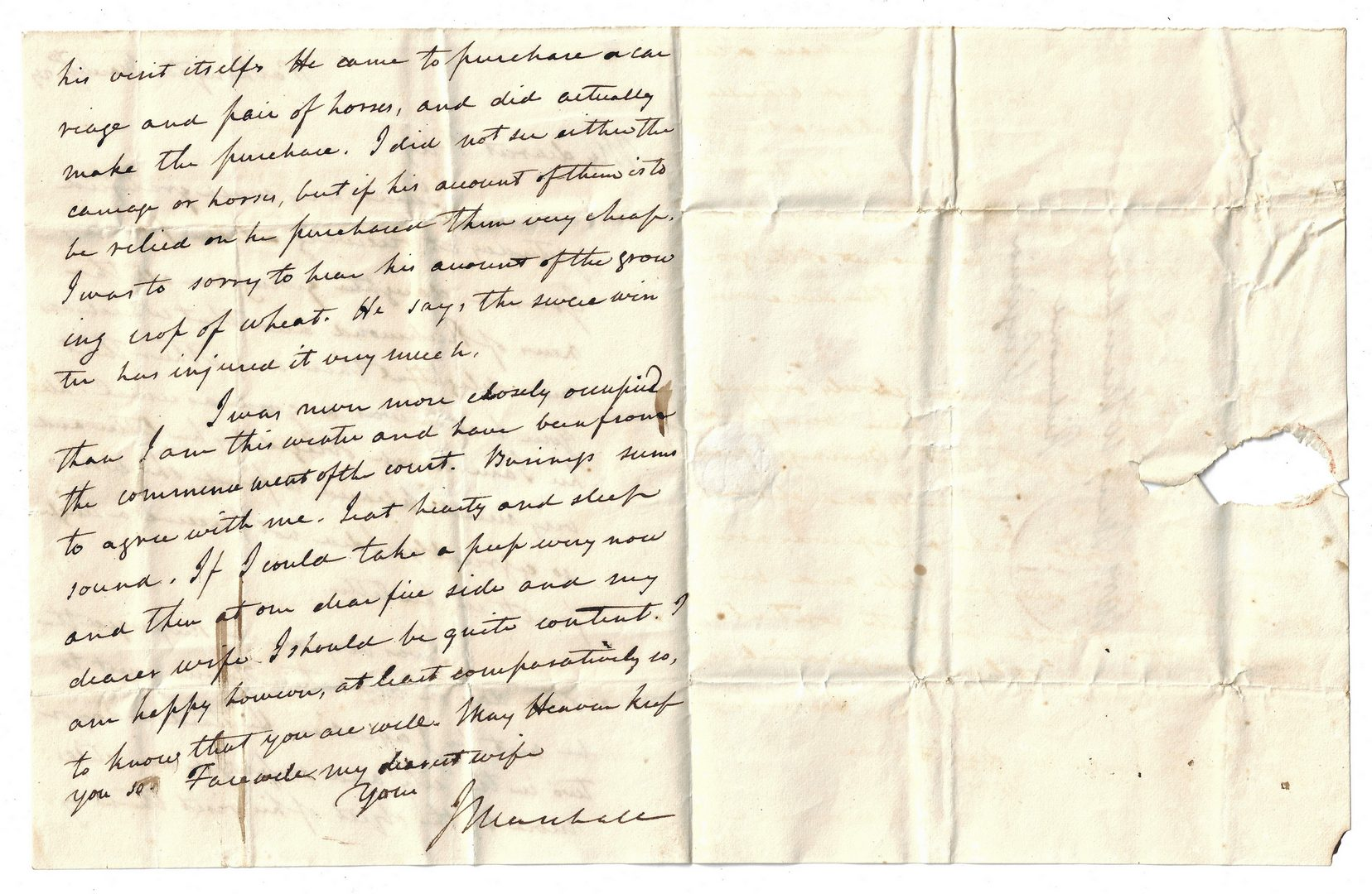 Lot 260: 1 John Marshall Signed Letter to Wife, dated 1829
