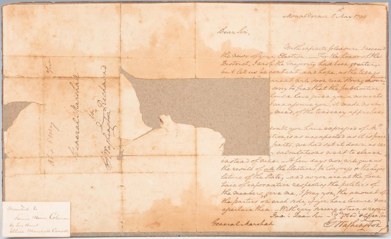 Lot 264: George Washington Signed Letter to John Marshall