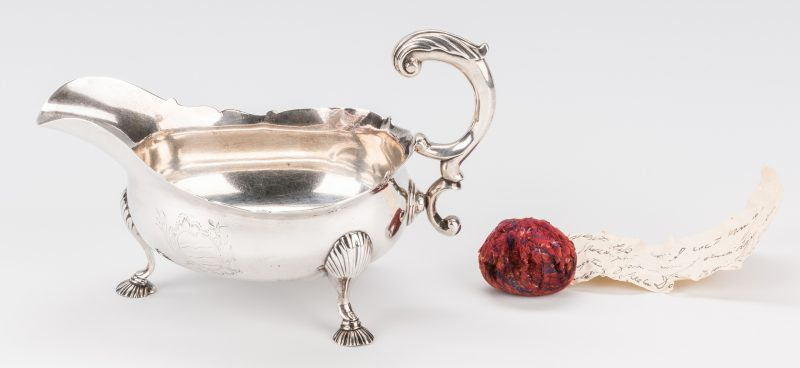 Lot 266: Marshall/Washington associated Sterling Sauce Boat & Velvet Remnant