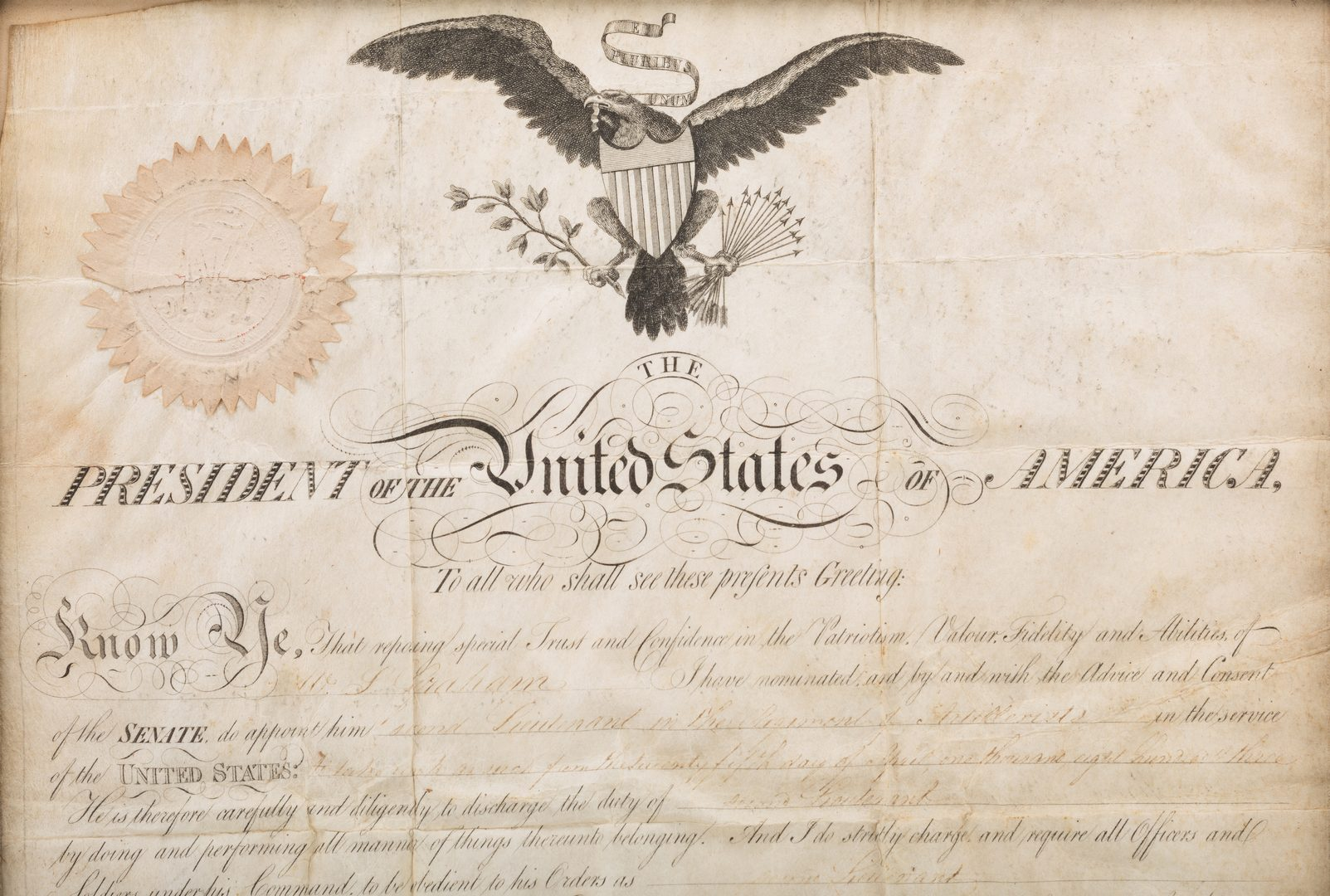 Lot 268: President Jefferson and Gen. Dearborn Signed Military Appointment