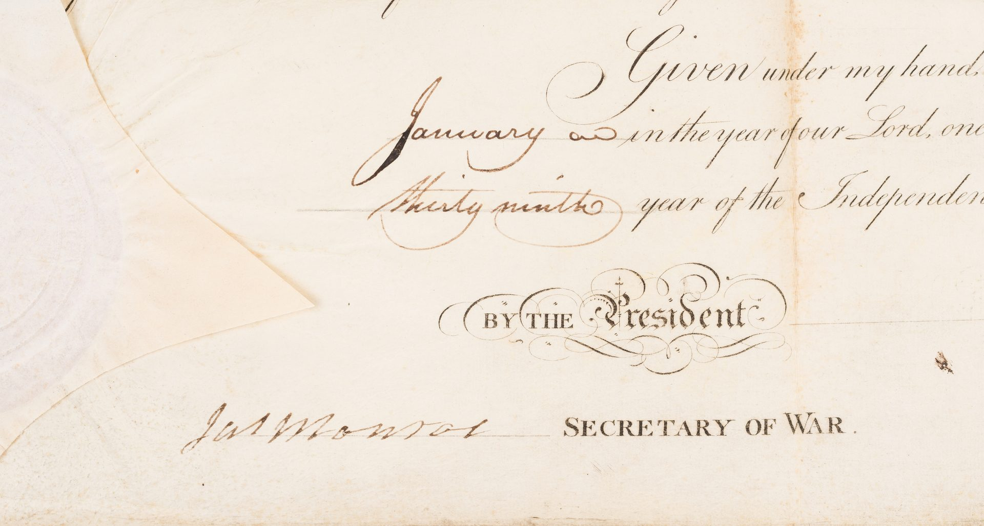 Lot 269: Presidents Madison & Monroe Signed Military Appt. of Greenleaf Dearborn