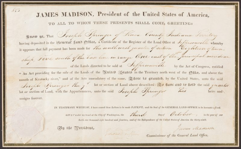 Lot 270: James Madison Signed Land Grant