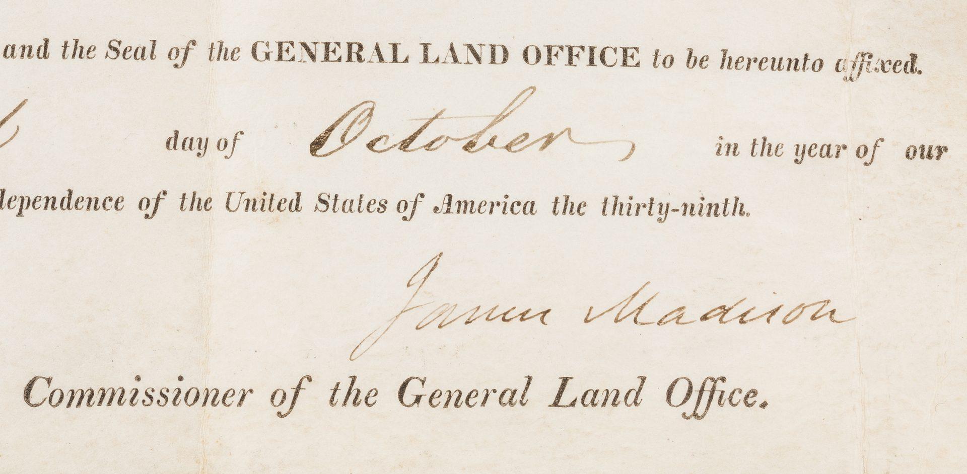 Lot 270: James Madison Signed Land Grant
