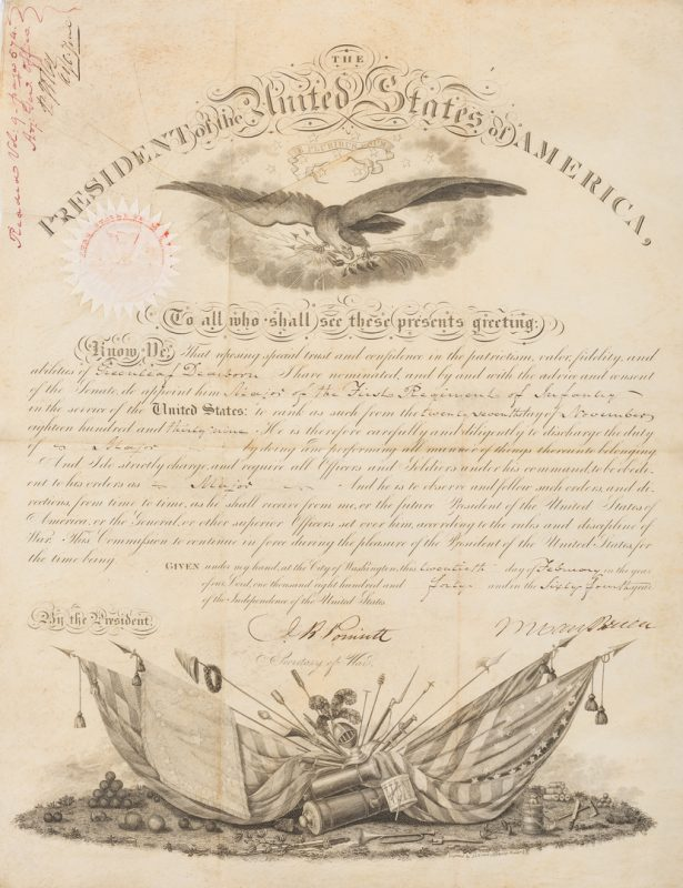 Lot 271: President M. Van Buren Signed Military Appointment of Greenleaf Dearborn