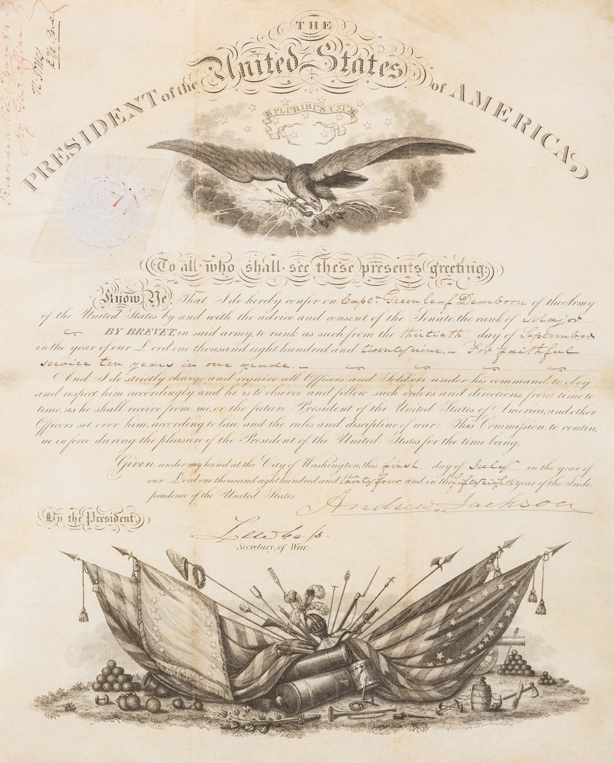 Lot 272: President A. Jackson Signed Military Appointment of Greenleaf Dearborn