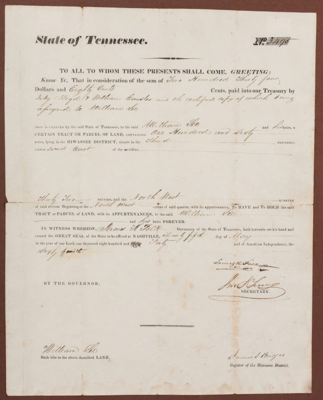 Lot 276: James K. Polk Governor Signed Land Grant