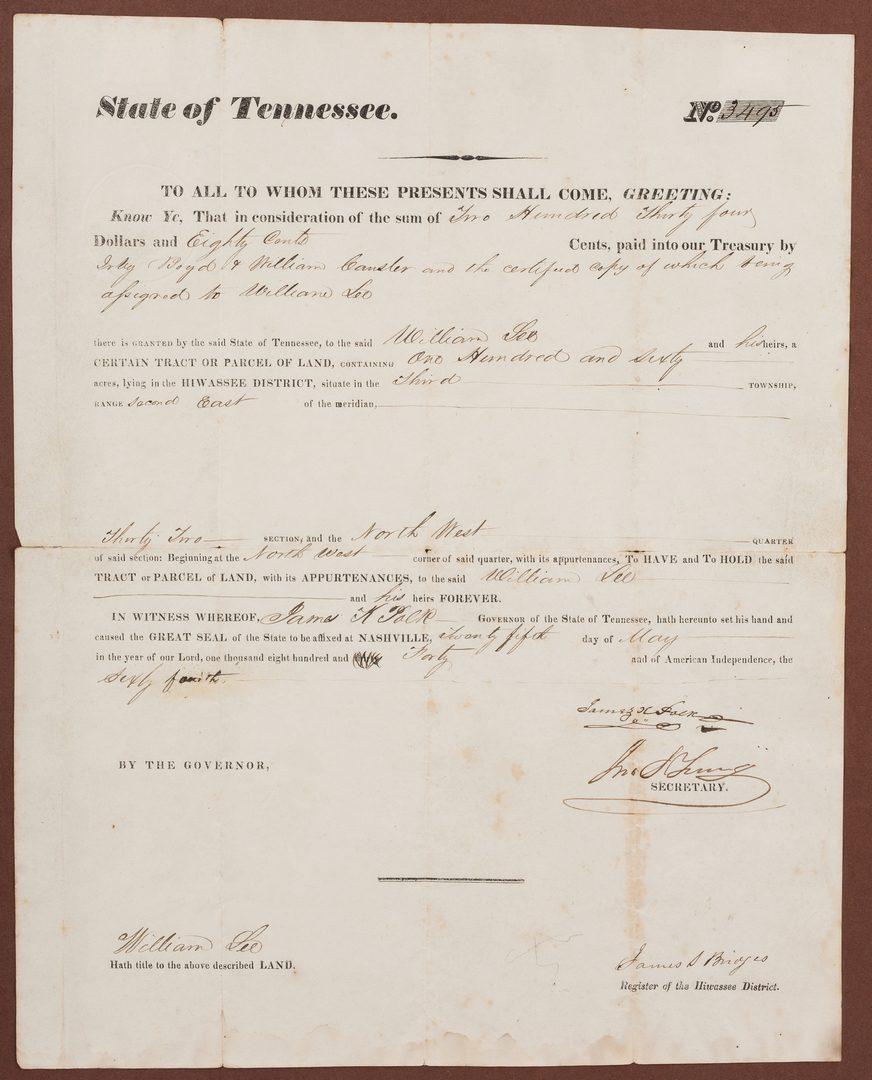 Lot 276: James K. Polk Governor Signed Land Grant