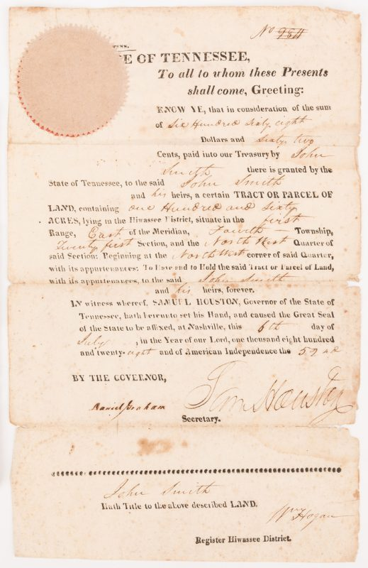 Lot 277: Sam Houston Signed Land Grant, Smith