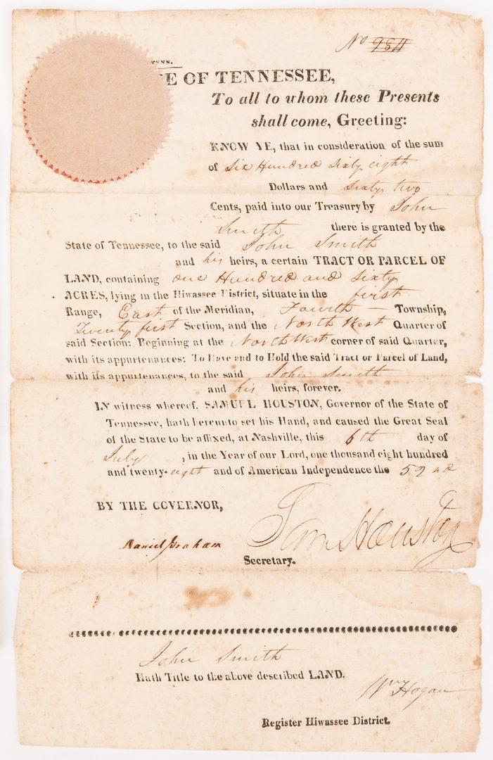 Lot 277: Sam Houston Signed Land Grant, Smith