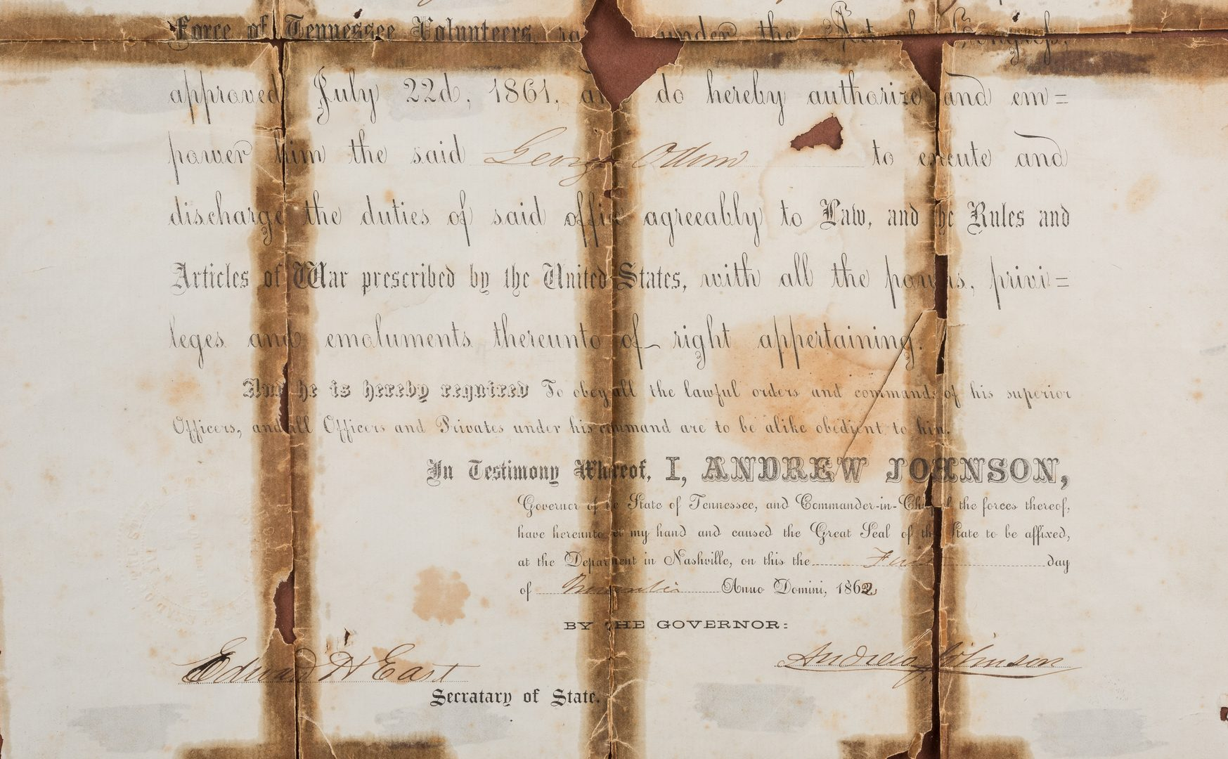 Lot 278: 3 Andrew Johnson Documents