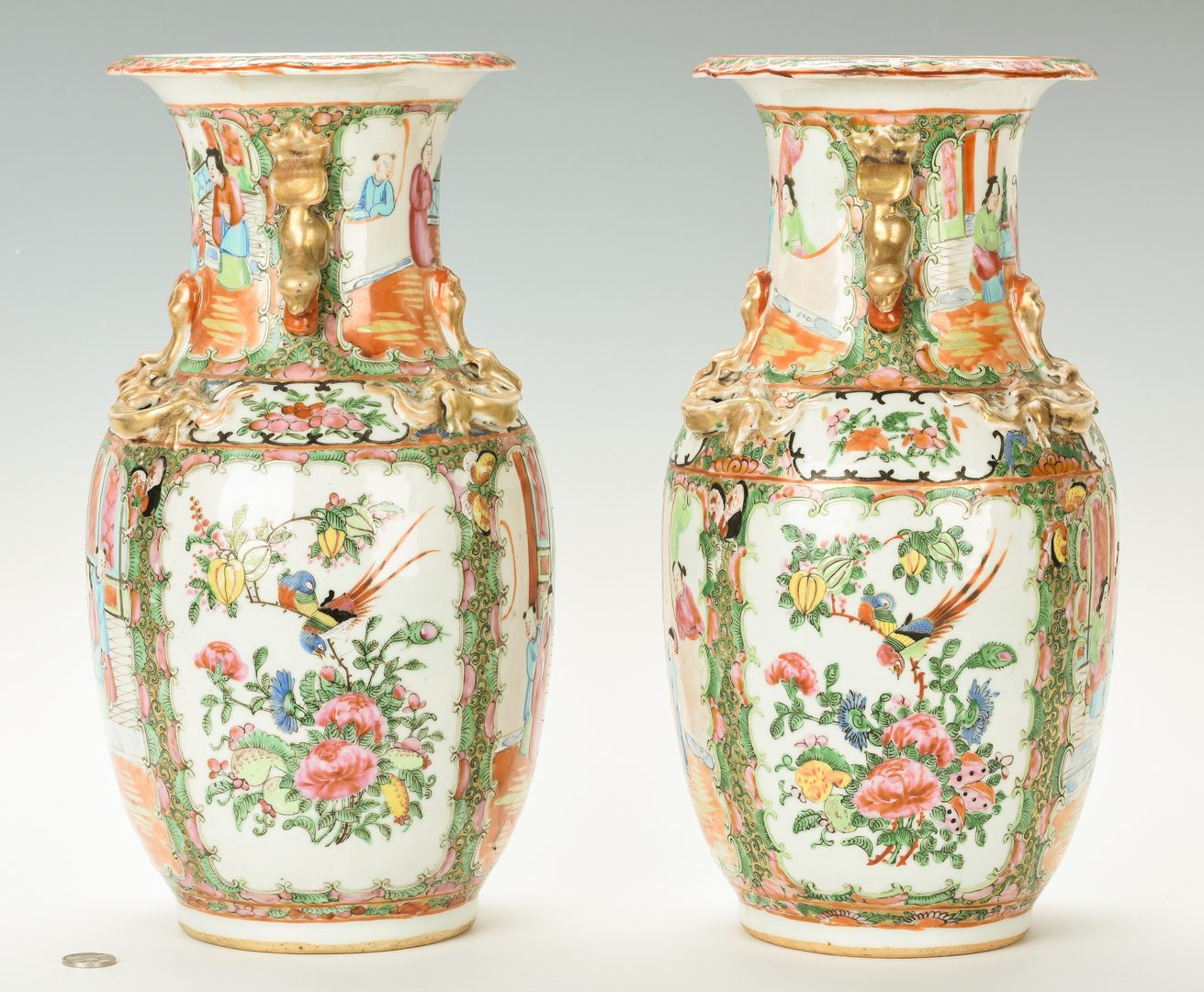 Lot 27: Pair Rose Medallion Vases w/ Dragon Handles