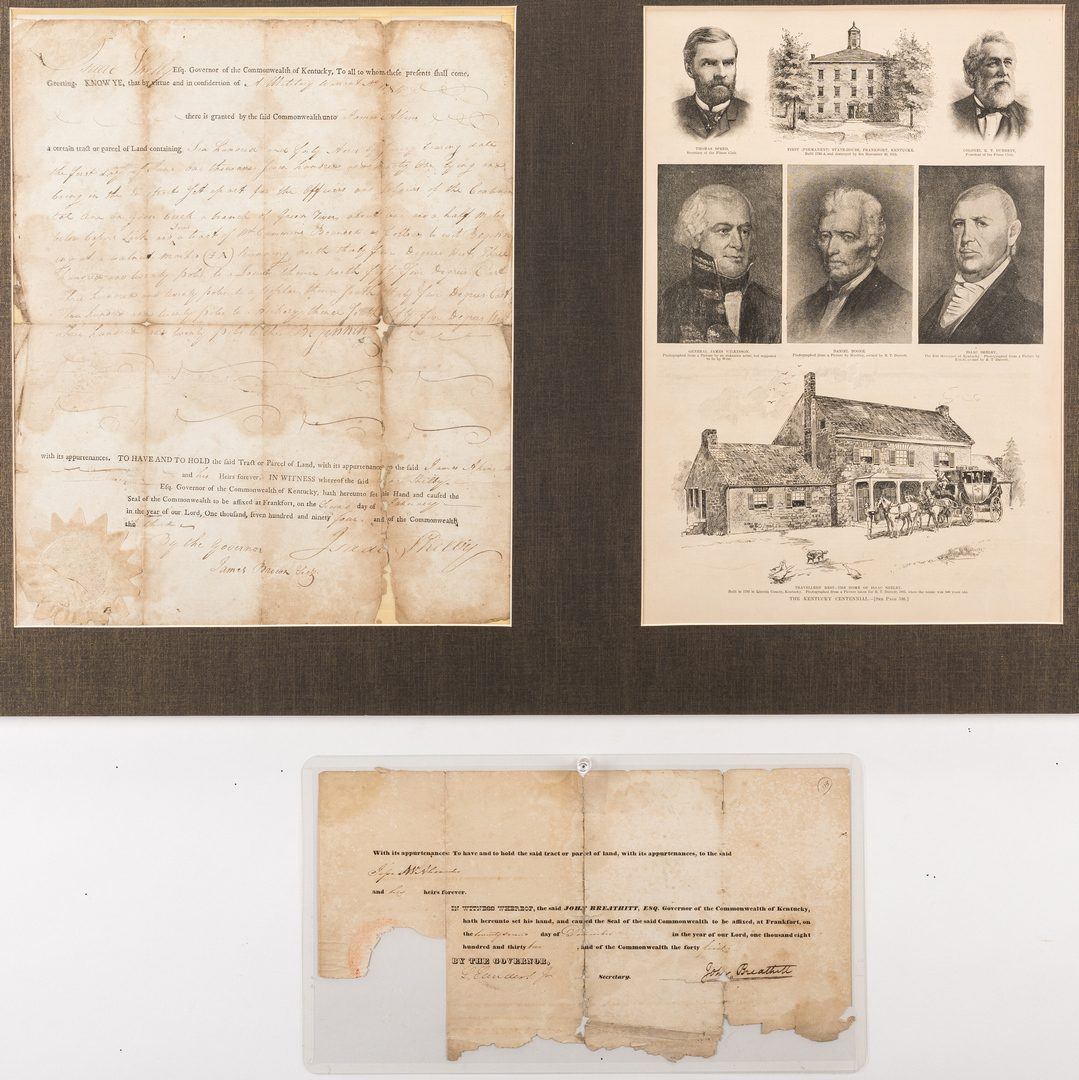 Lot 281: 2 KY Governor Signed Documents, Shelby and Breathitt