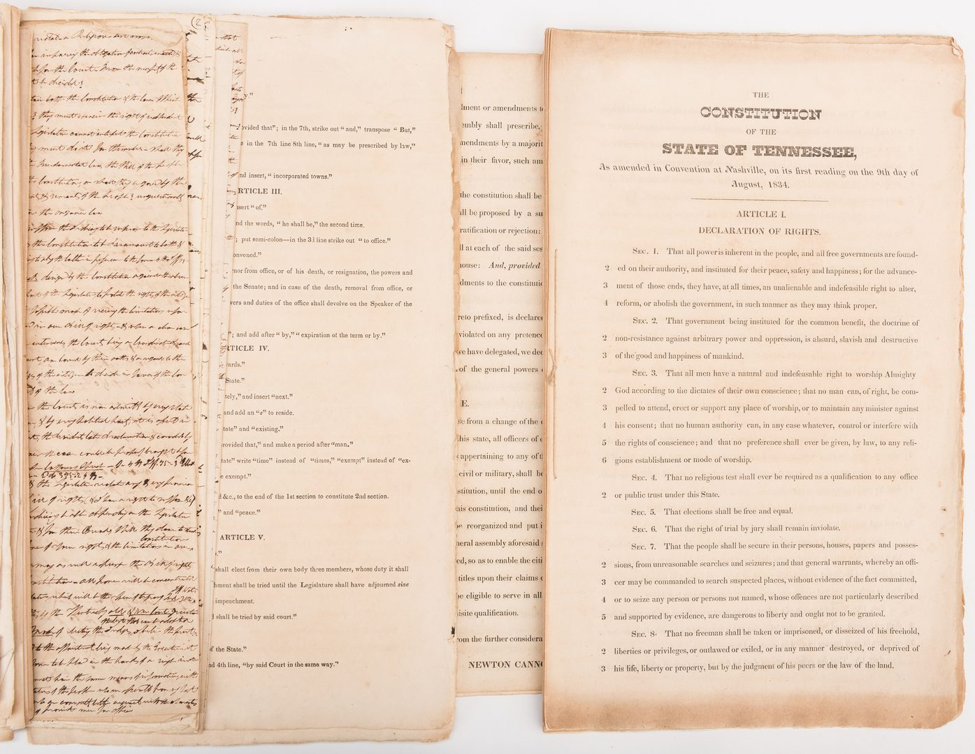 Lot 283: 1834 Copy of TN State Constitution with hand written notes