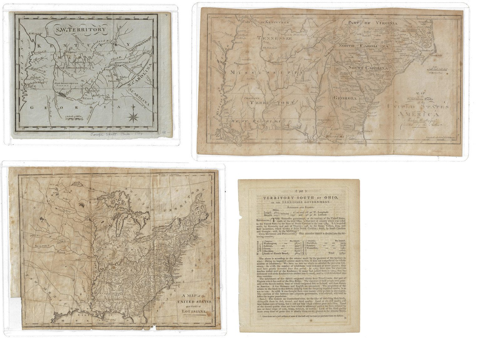 Lot 285: 3 Early Southern and TN Maps, inc. Mero District plus book excerpt