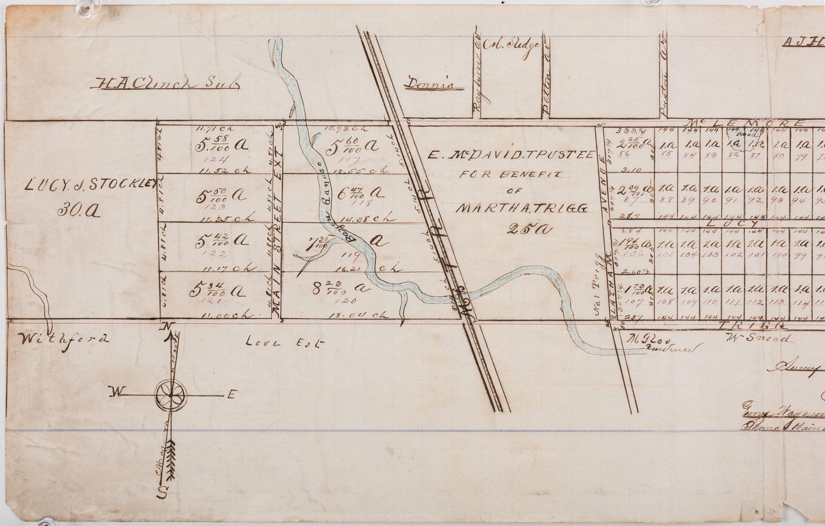 Lot 286: Hand drawn Memphis plat, ref. Fort Pickering