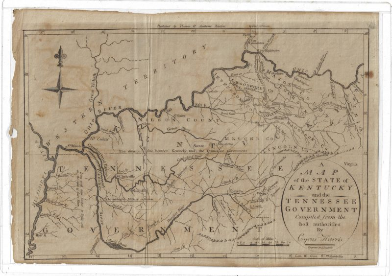 Lot 288: KY and TN Map, Cyrus Harris, c. 1796