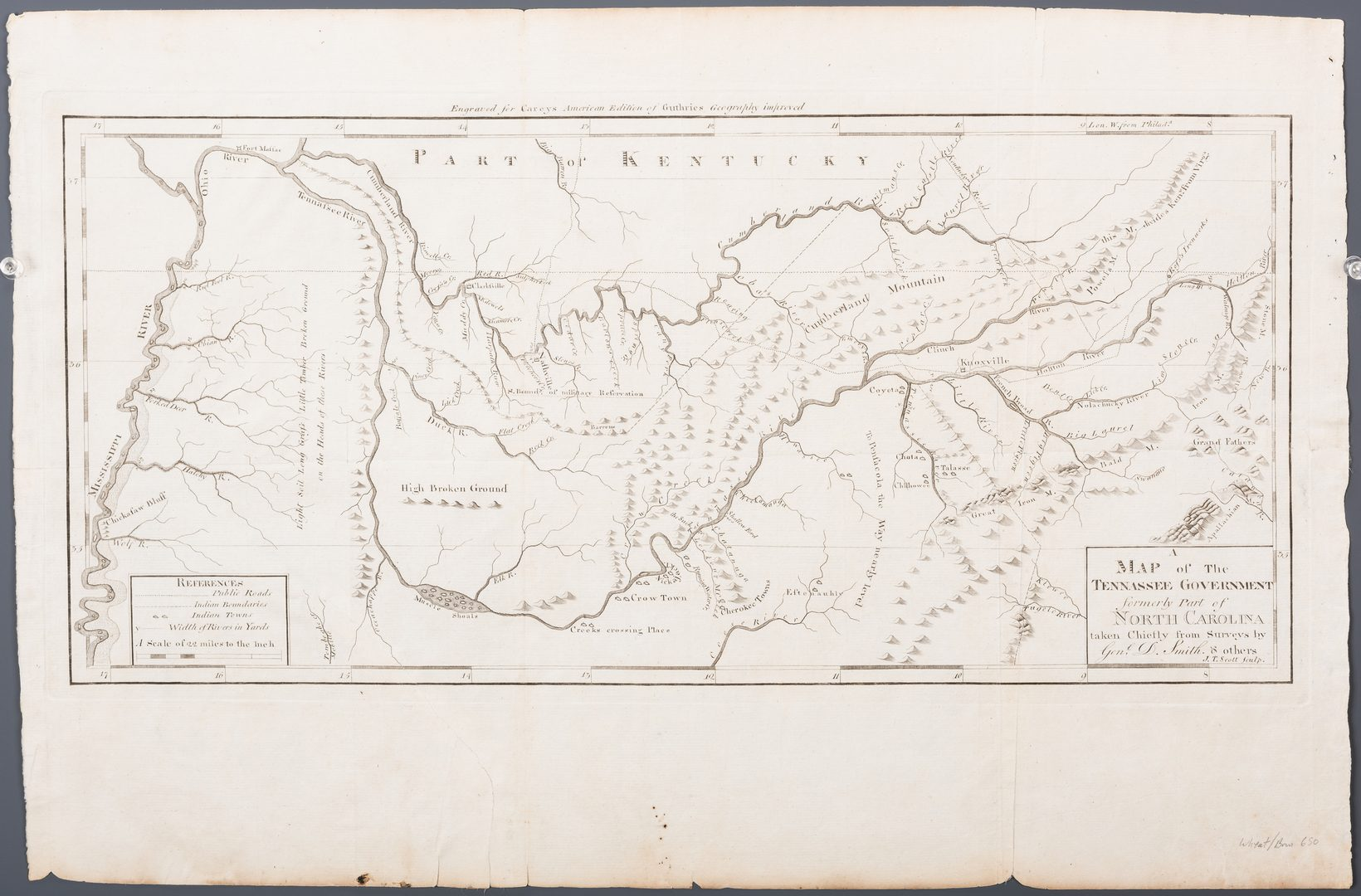 Lot 289: Map of the Tennessee Government, 1795 Smith