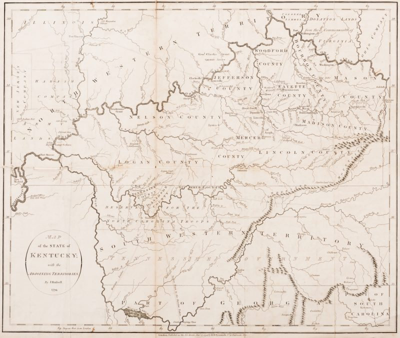 Lot 290: Kentucky Map, J. Russell, 1794