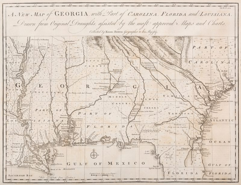 Lot 291: A New Map of Georgia, 1748 Bowen