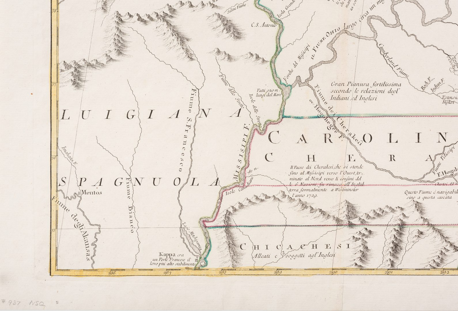 Lot 292: Western NC and Southern VA Map (after Mitchell, 1773)