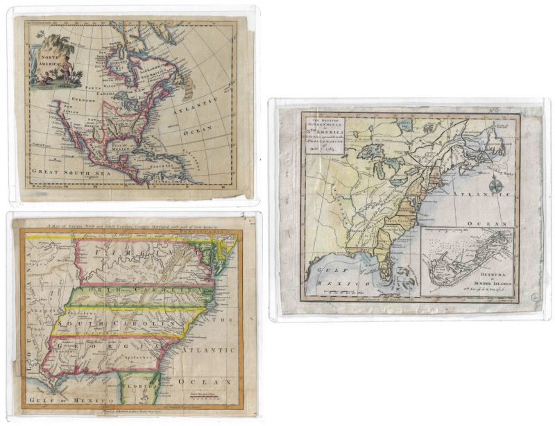 Lot 293: Three 18th C. U.S. Maps, inc. Southern