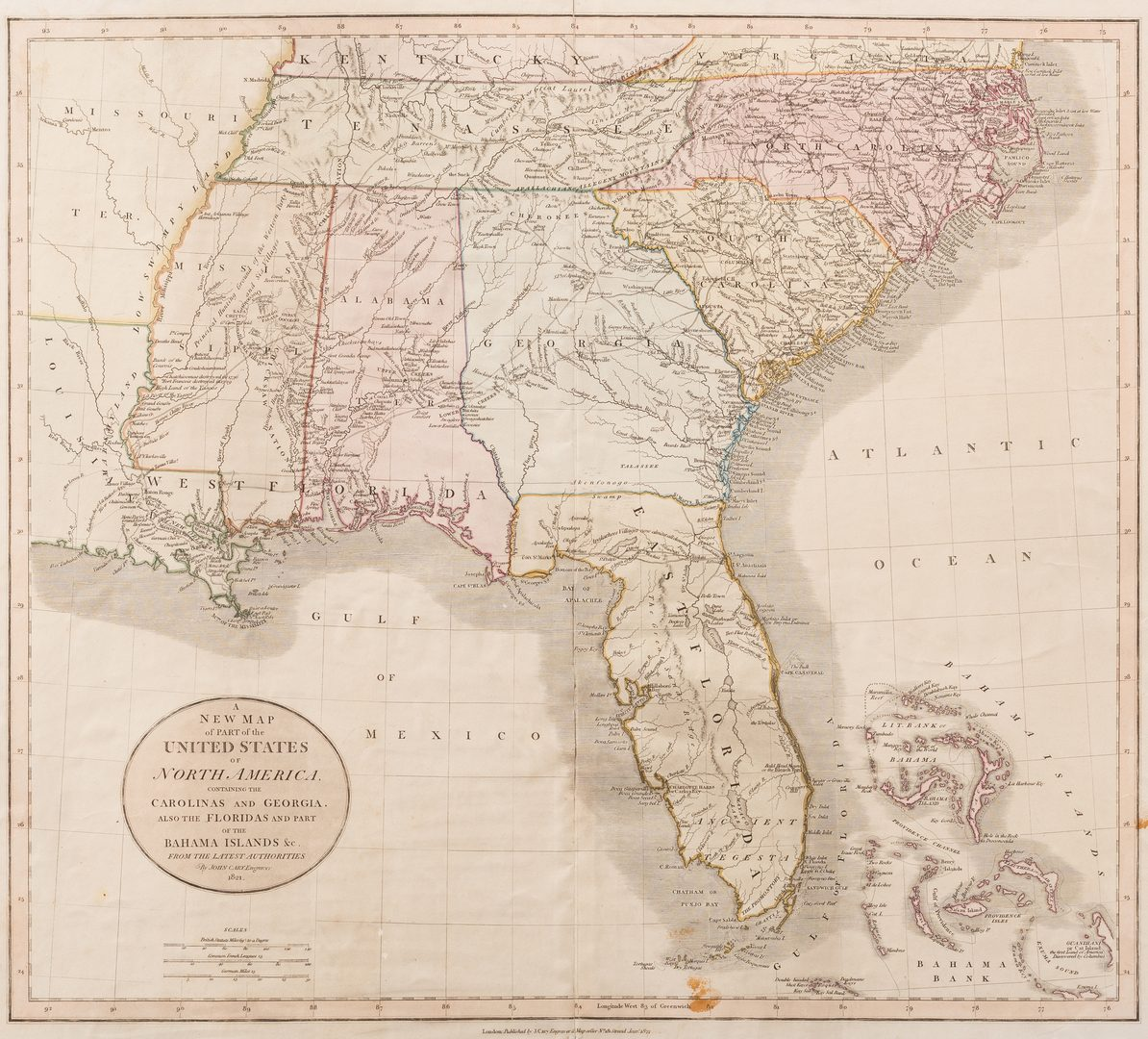 Lot 295: Cary Map of the Southeast, 1821, inc. Alabama