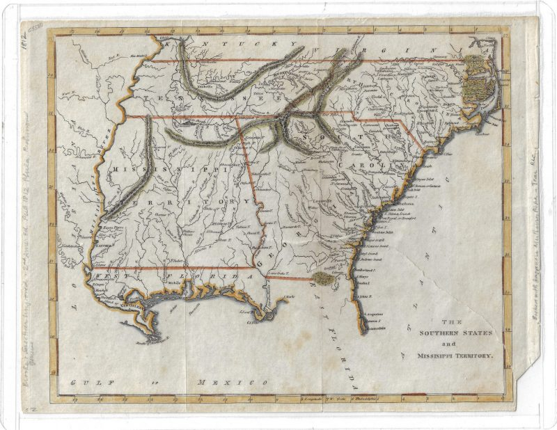 Lot 296: Cary and Warner Map: Southern States and Mississippi Territory