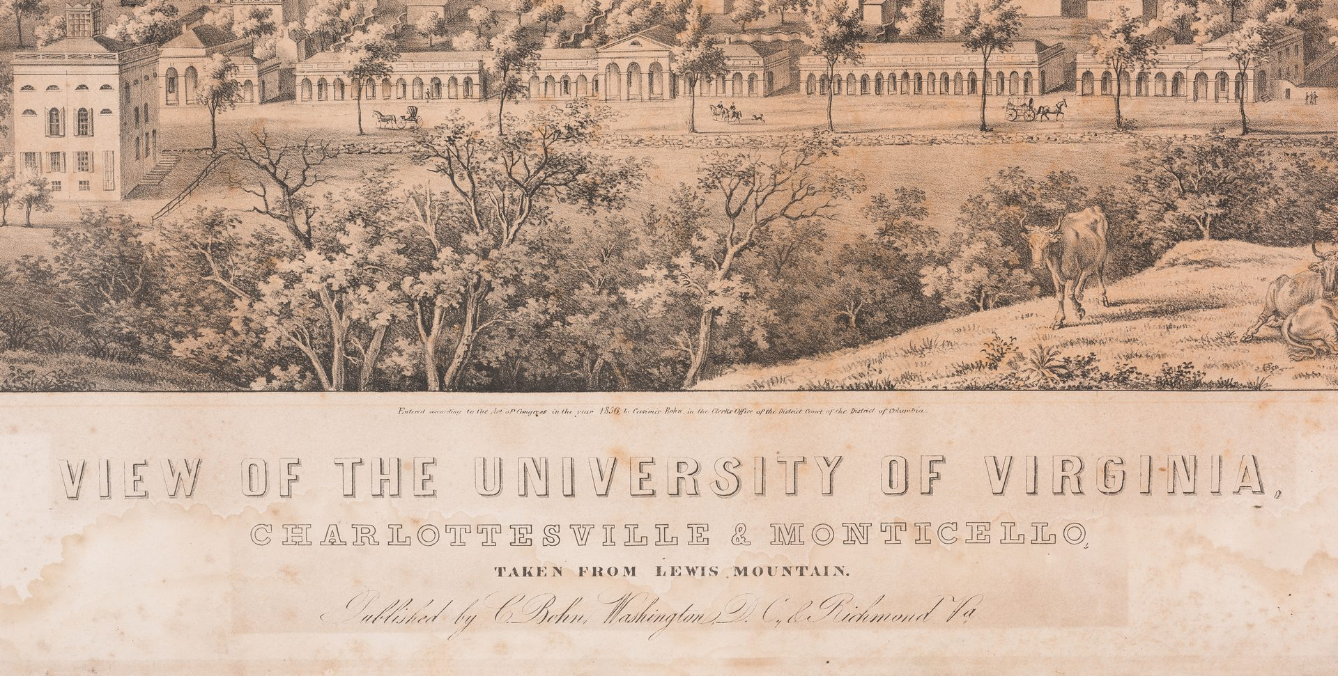 "Lot 297: ""View of the University of Virginia"" Panoramic Map"