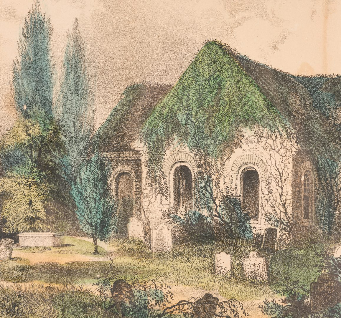 Lot 299: Currier and Ives Old Blandford Church