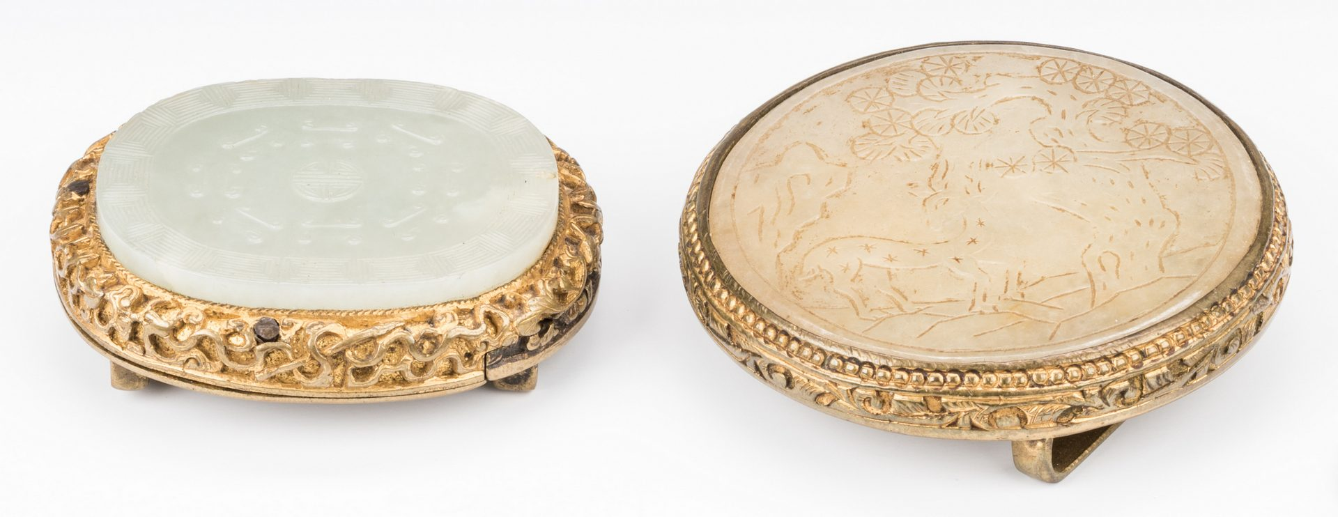 Lot 2: 2 Chinese Jade & Gilt Bronze Belt Ornaments