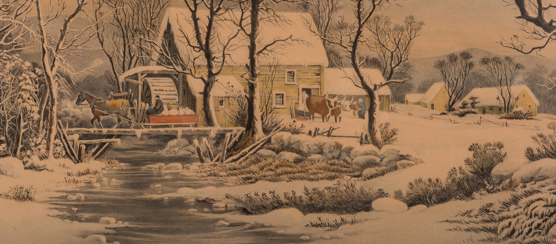 Lot 300: Currier and Ives, Winter in the Country, Grist Mill