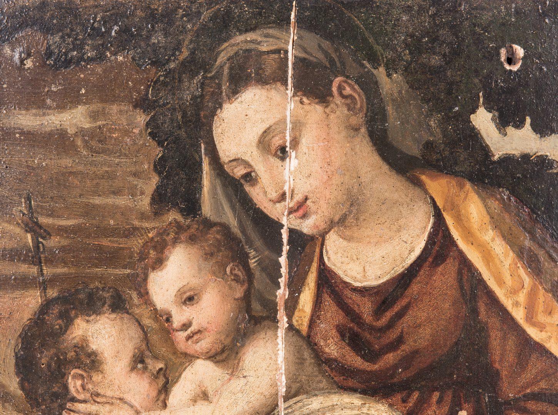 Lot 308: Italian oil on panel, Virgin & Child after Lanciano