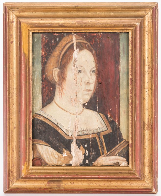 Lot 309: Tempera on Panel Portrait of a Woman