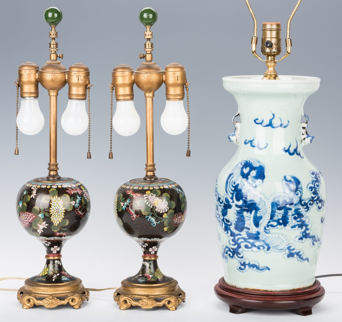 Lot 30: Pr. Chinese Cloisonne Lamps; Blue/White Porcelain Lamp, 3 items total