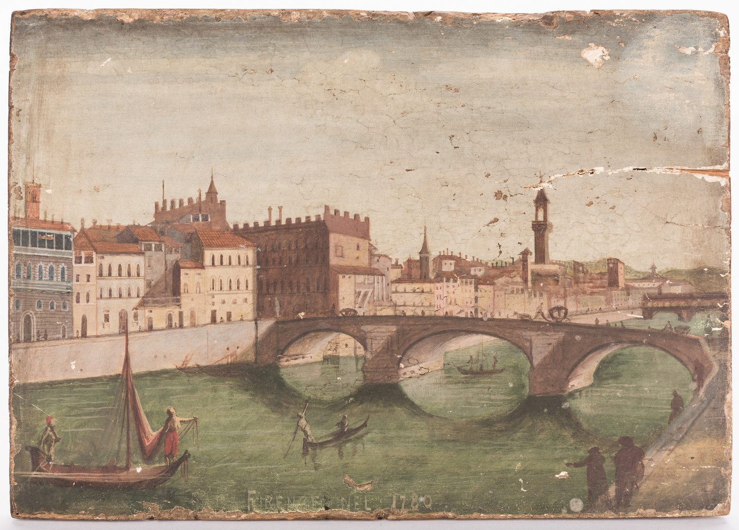 Lot 310: Oil on Panel view of Florence dated 1780