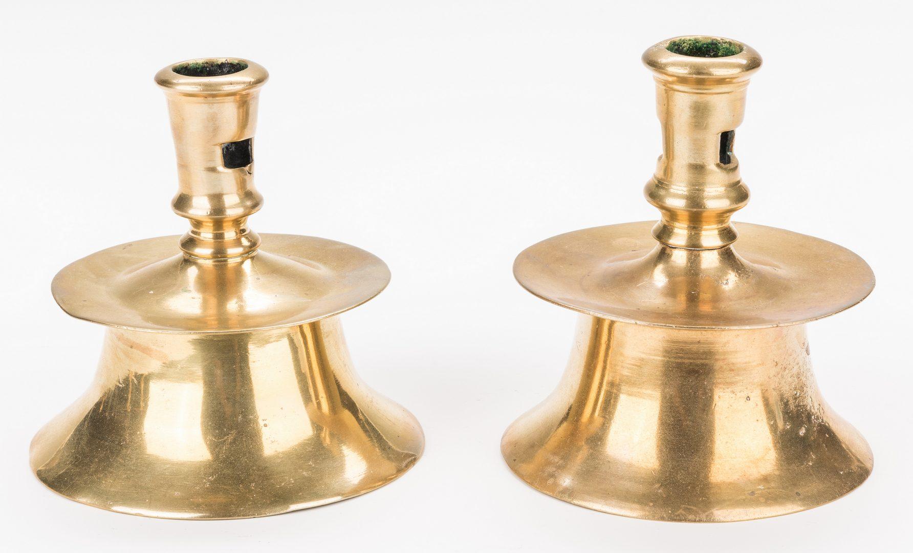 Lot 318: 5 Early Brass Candlesticks, inc. Capstan