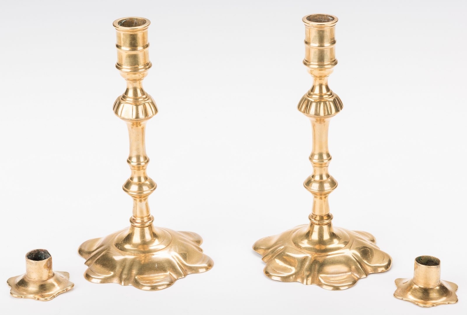 Lot 319: 6 Brass Candlesticks plus Snuffers and Stand