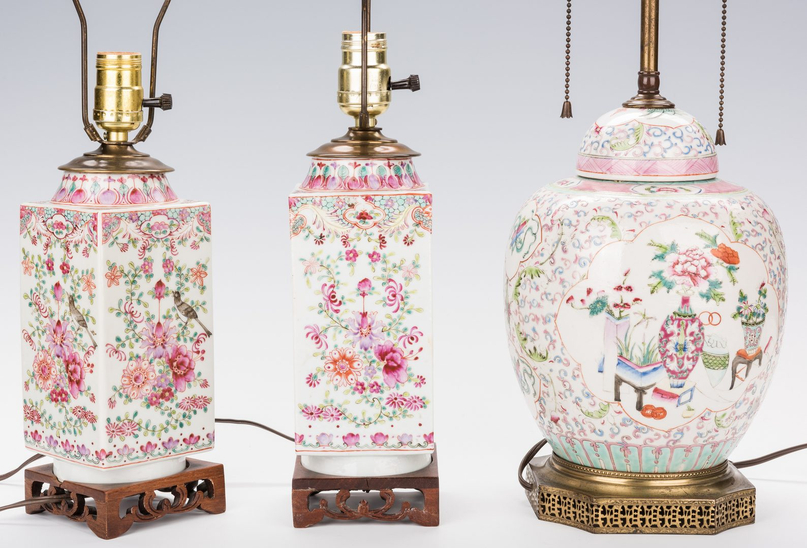 Lot 31: 3 Chinese Export Porcelain Lamps