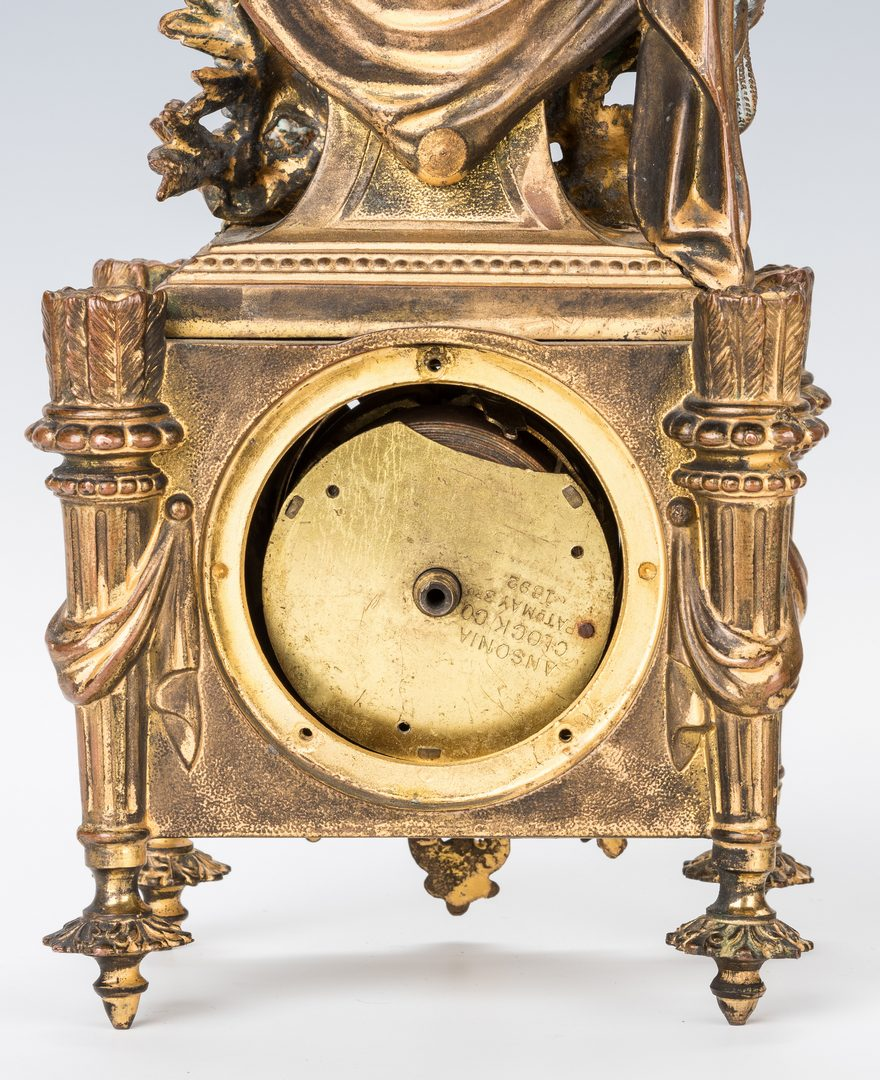 Lot 320: French Gilt Clock w/ 3-Pc. Gilt Bronze Garniture Set