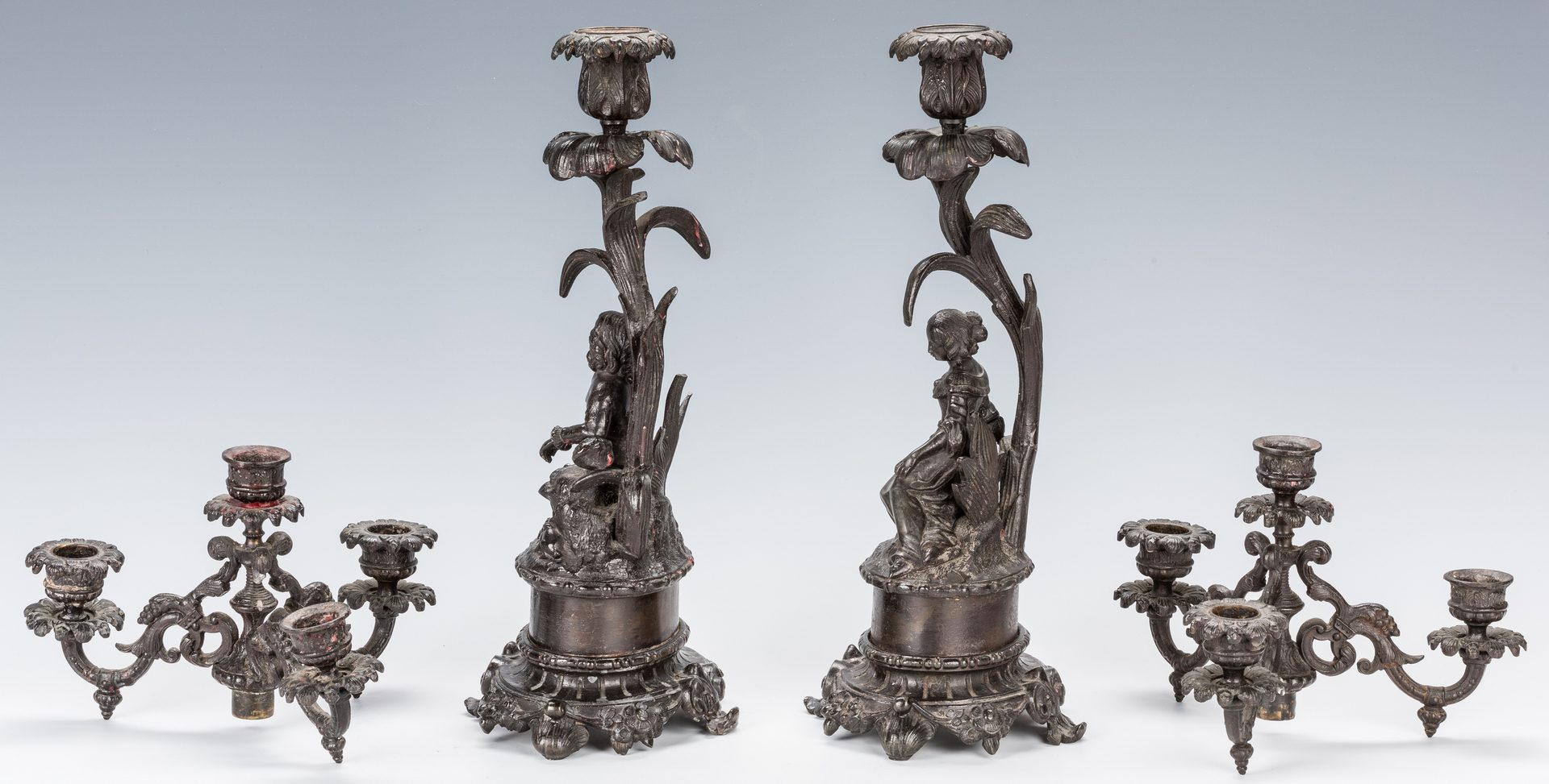 Lot 321: Figural French Bronze Clock Garniture