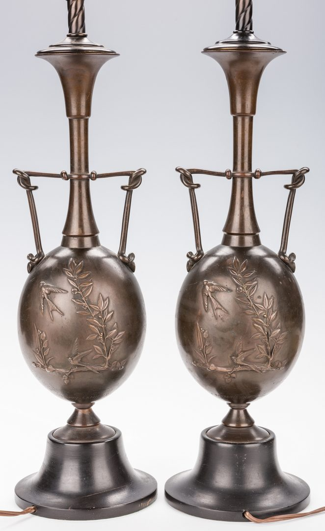 Lot 322: Cahieux, Barbedienne Bronze Lamps
