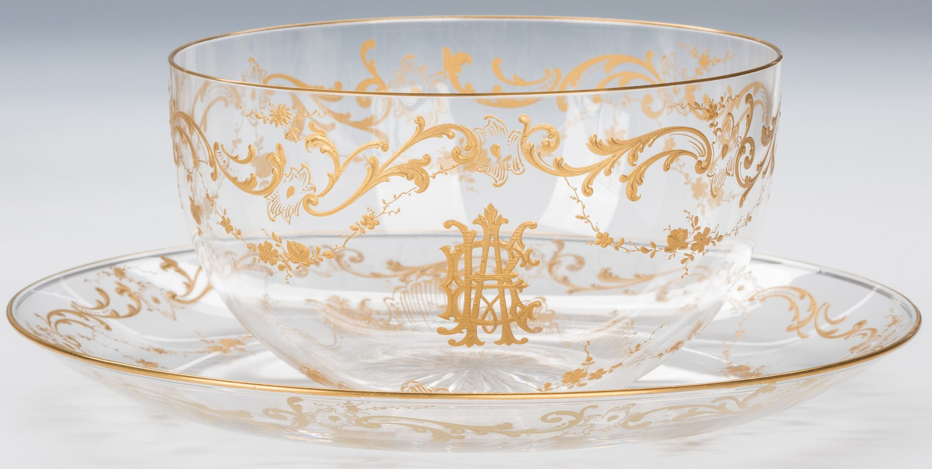 Lot 323: Baccarat Gilded Crystal Bowls & Tazzas
