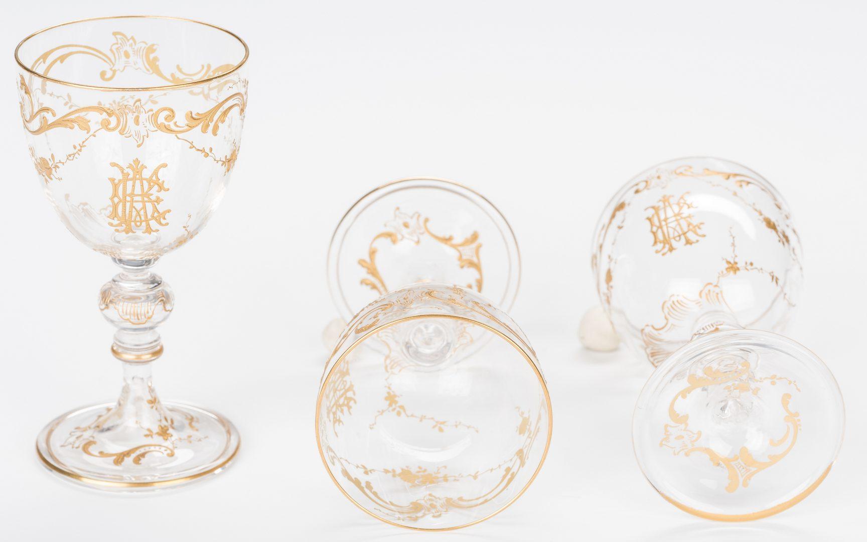 Lot 324: Baccarat Gilded Crystal Stemware, 62 pcs.