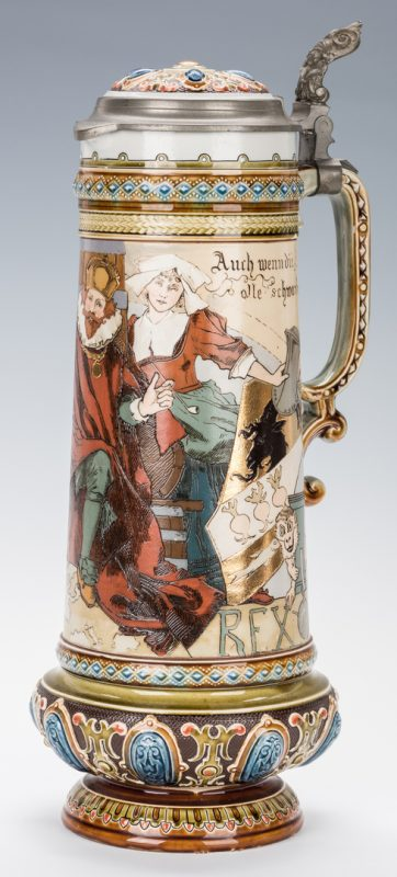Lot 328: German Mettlach Schlitt Ceramic Stein