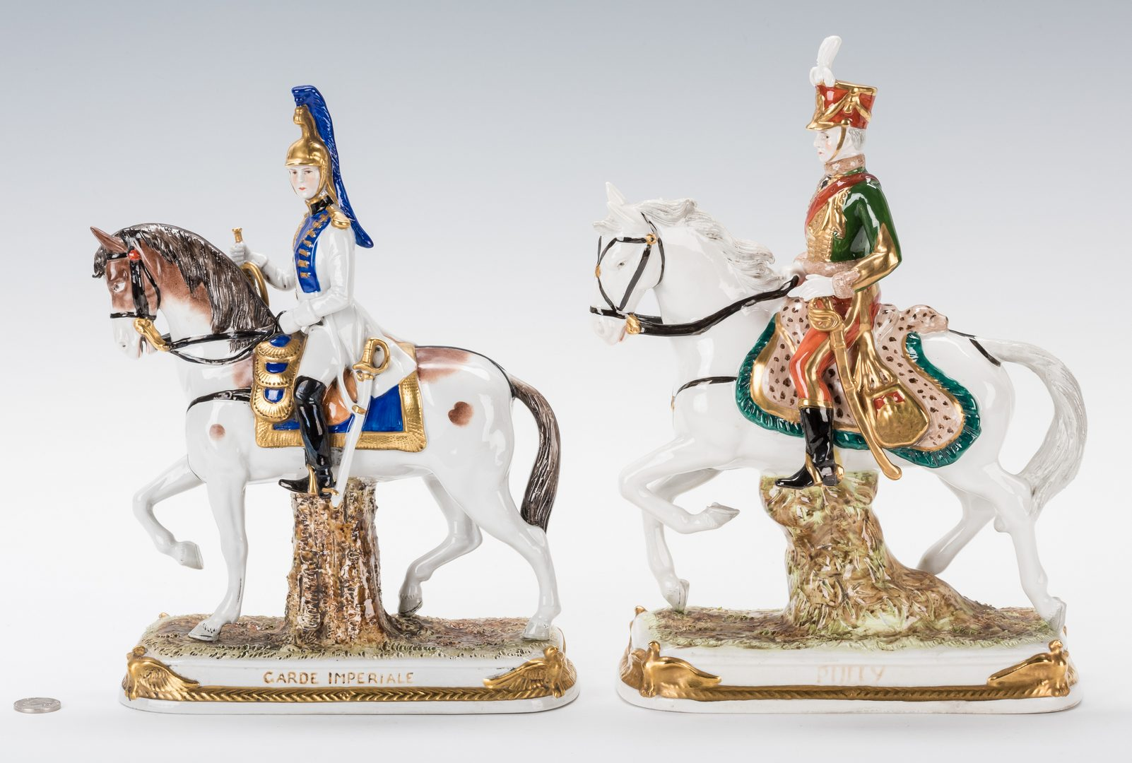 Lot 329: 5 European Military Porcelain Figurines, inc. Capodimonte