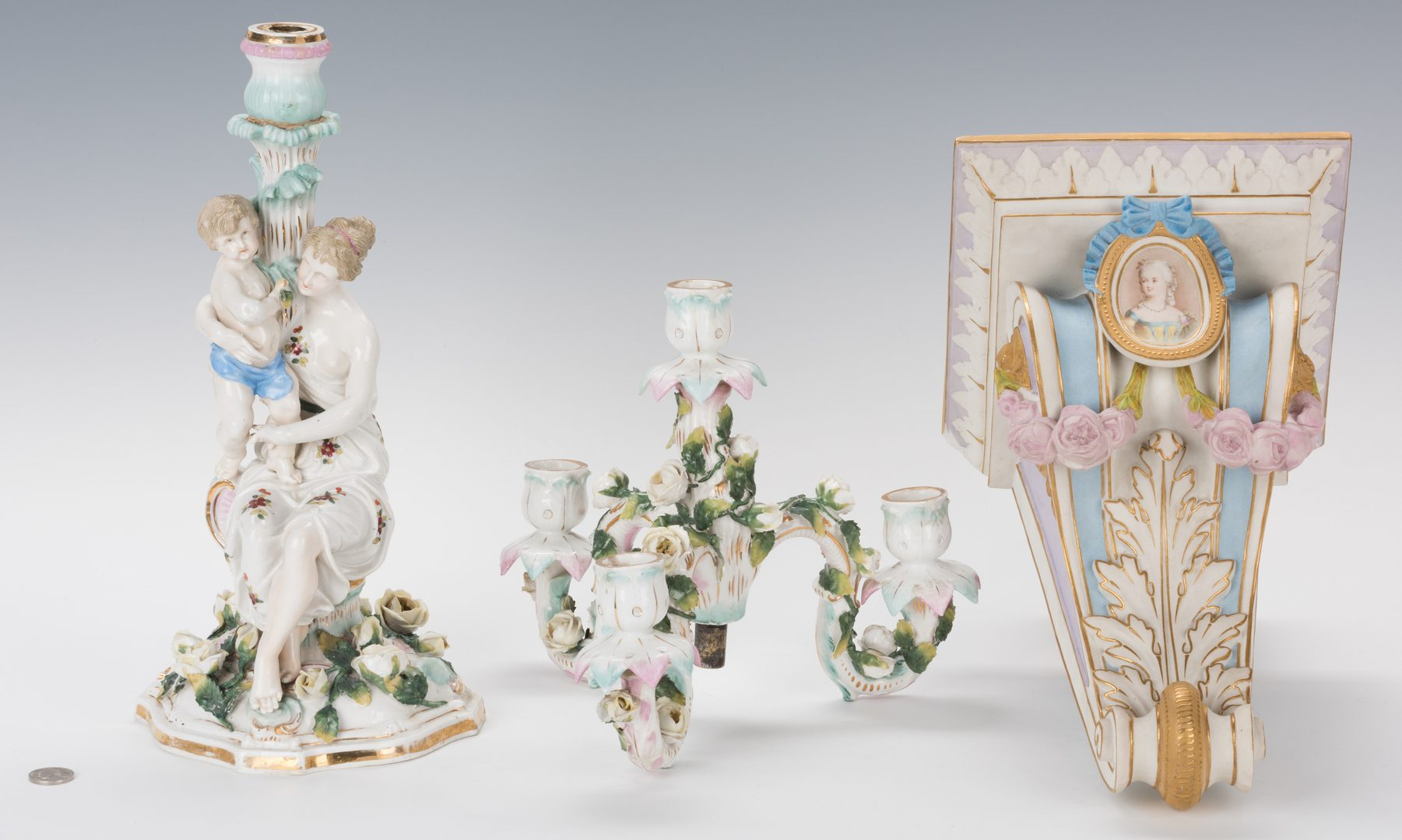 Lot 331: German Porcelain Candelabra; Decorated Bisque Wall Bracket