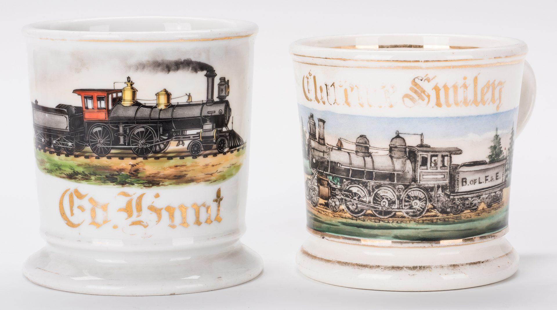Lot 332: 5 Shaving Mugs inc. Railroad